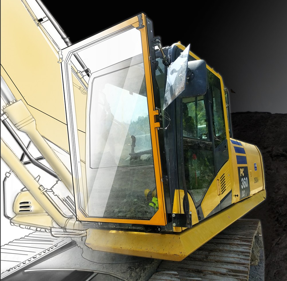 Porticos Designs High-Impact Shield Mount for Construction Equipment