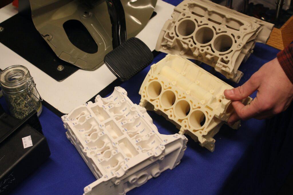 Plastic 3D printed prototype car parts